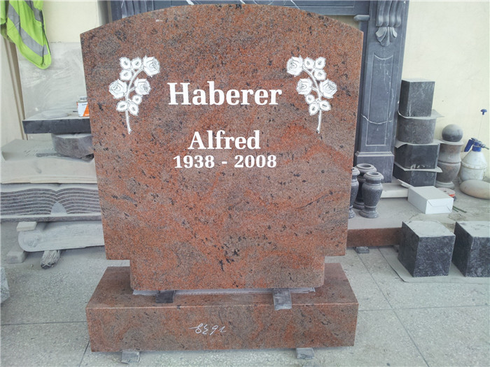 Traditional granite headstone with base
