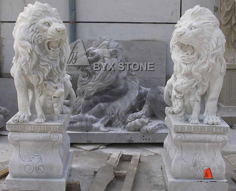 White Marble Lion Sculpture Garden Stone Lion Statue