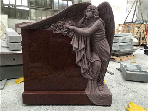 American style granite angel headstone