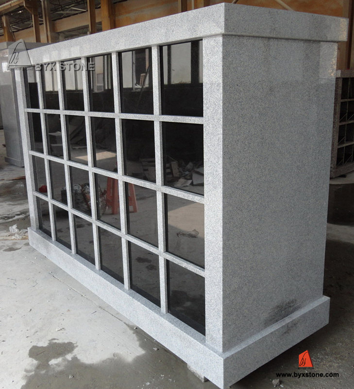 48 Niche Chinese Polished Grey Granite Columbarium with Black Door