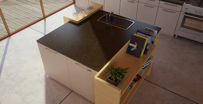 Deep gray with cream veins in quartz countertop
