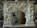 White marble angel fireplace mantel
