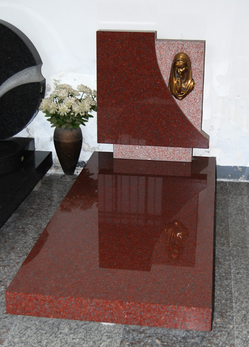 Red granite polished headstone with slab