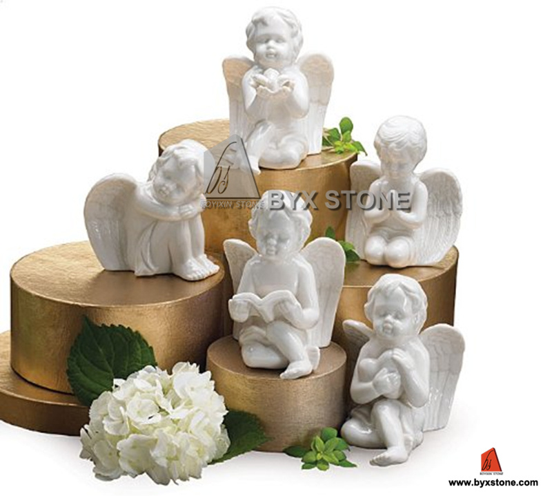 Home Decoration White Marble Little Angel Carving Sculpture