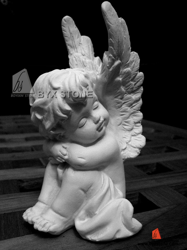 White Marble Stone Little Angel Sculpture for Decoration