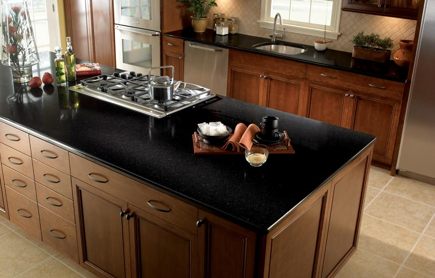 black kitchen quartz countertop