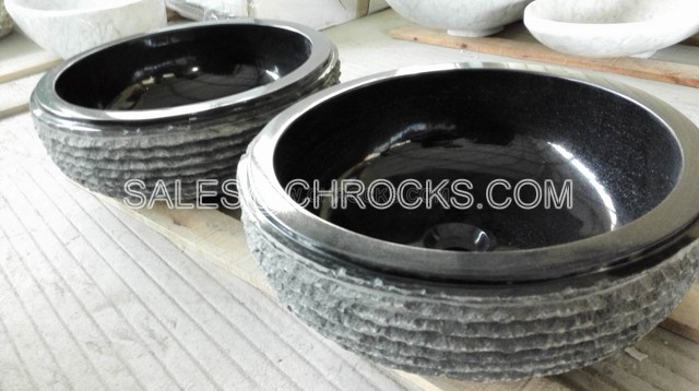 Black Granite vessel sinks bathroom wash basin