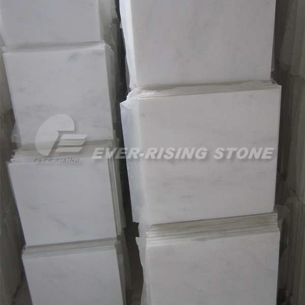 White Marble Tile for Bathroom Floor Tile