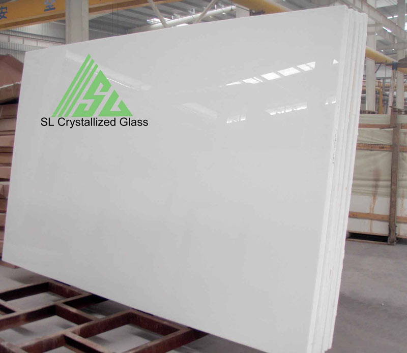 Pure white crystallized glass slab