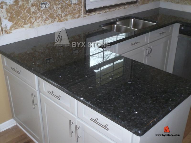 Fantastic L Shape Blue Pearl Granite Kitchen Countertop Vanity