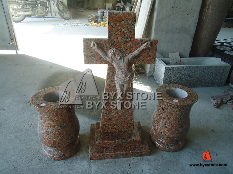 Maple Red Granite Cross Headstone with Jesus Sculpture