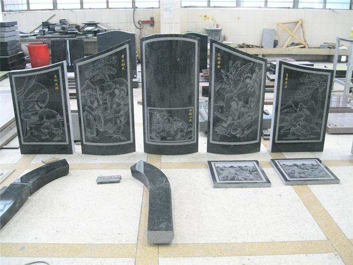 Granite headstone for grave