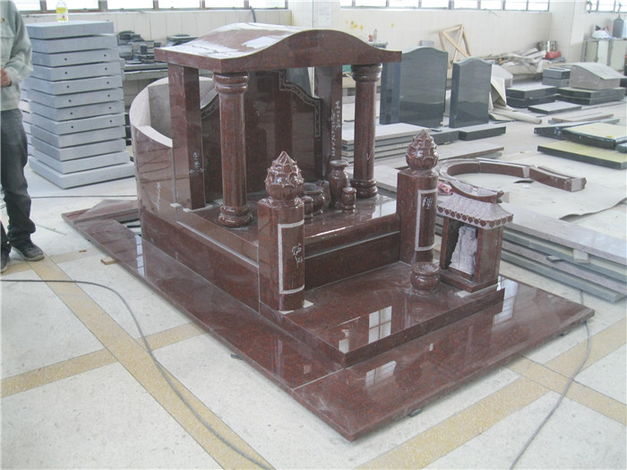 Formal granite memorials for grave