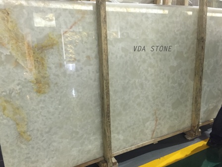 Cloudy White Onyx Slab