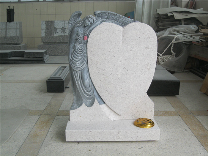 Heart shape marble tombstone for grave