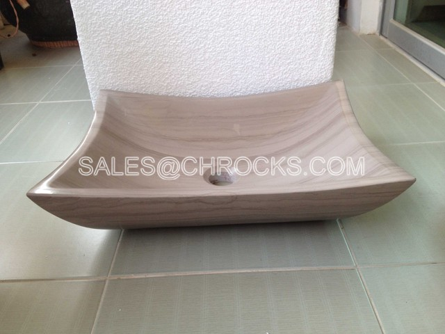 Grey Wooden Marble square sinks wash basin