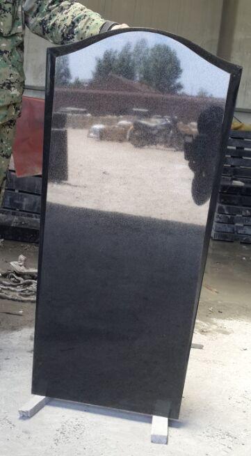 Absolute black granite upright headstone JD-11