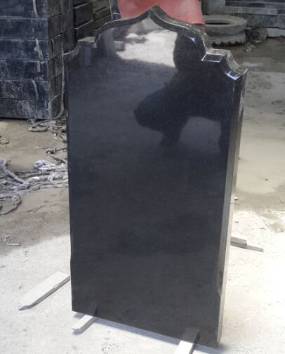 Natural black granite upright tombstone