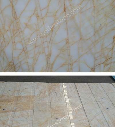 Golden spider marble