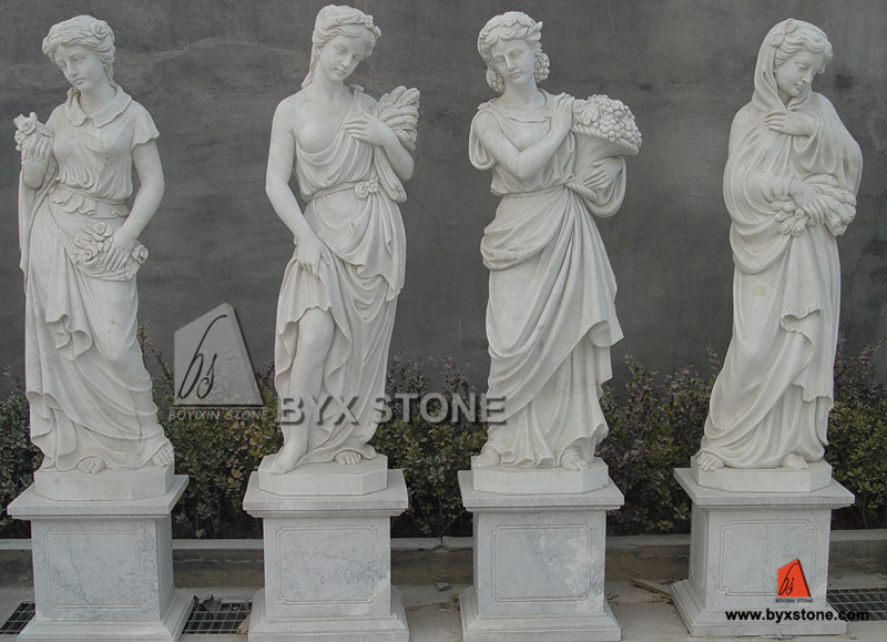 Natural White Marble Outdoor Garden Ladies Sculpture for Decoratio
