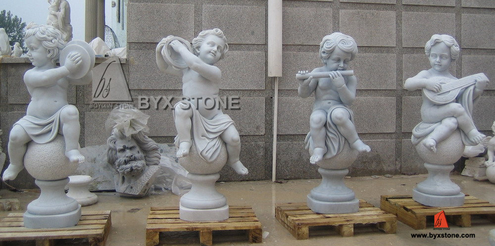White Marble Angle Sculpture with Playing Musical Instruments