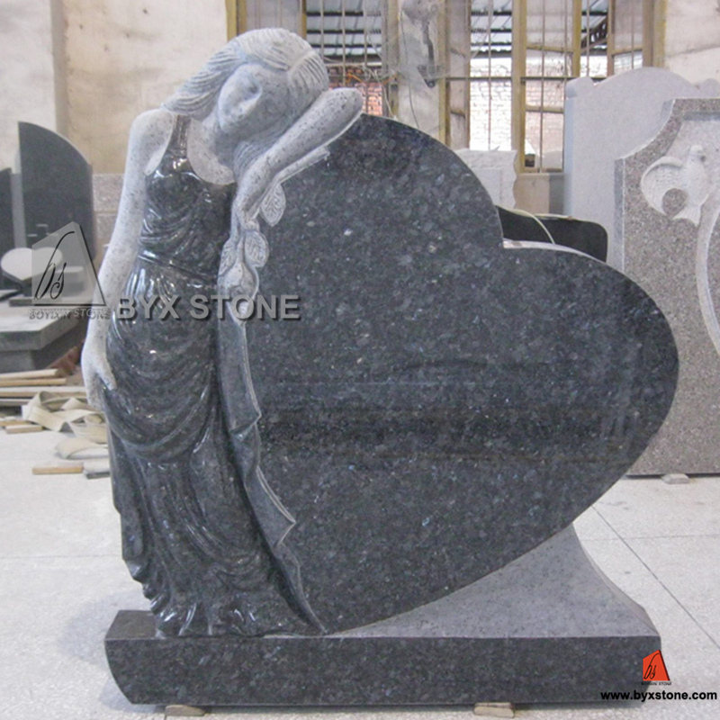 Blue Pearl Granite Angel Carving Monument Heart Headstone