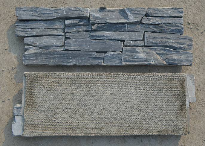 P019 China black slate stone veneer cement based for wall hanging