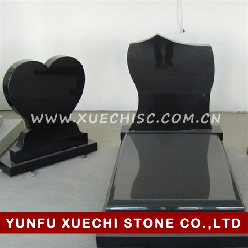 Poland style black granite tombstone