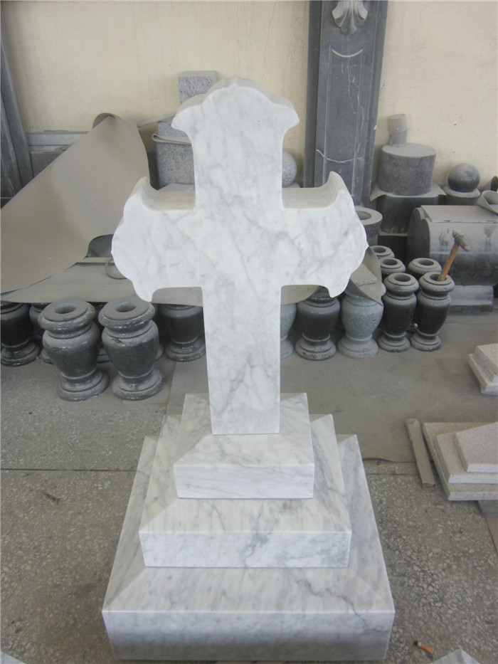 Cross carving white marble headstone