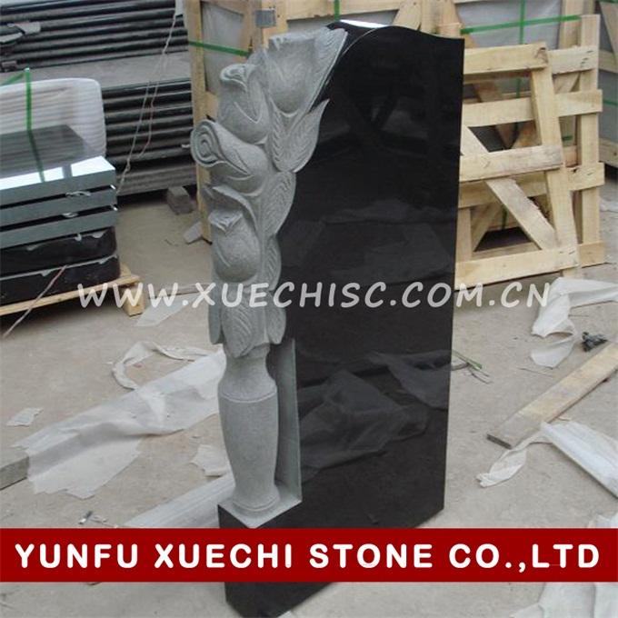 Russian style tombstone black granite