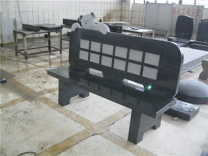 Black granite memorial benches for grave