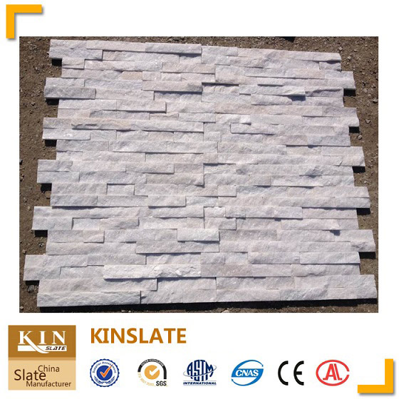 Snow white quartzite ledgestone wall cladding