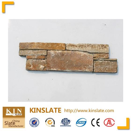 Beige quartzite ledgestone interlocking wall panels