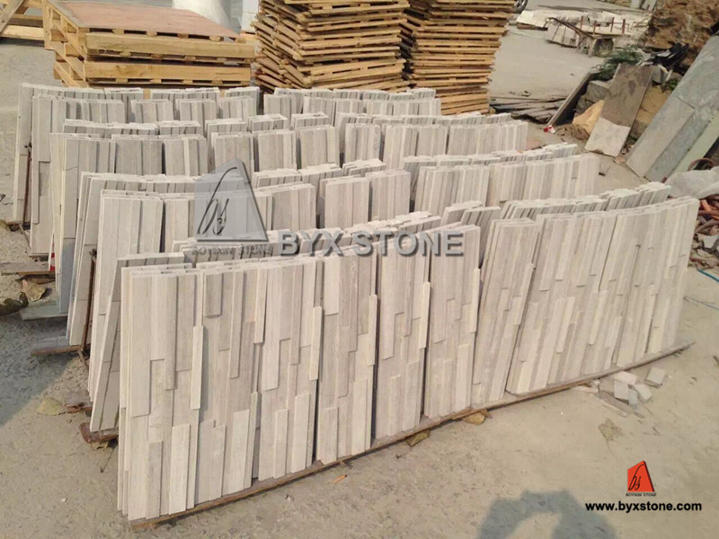 White Wood Marble Culture Stone Wall Cladding for Decoration