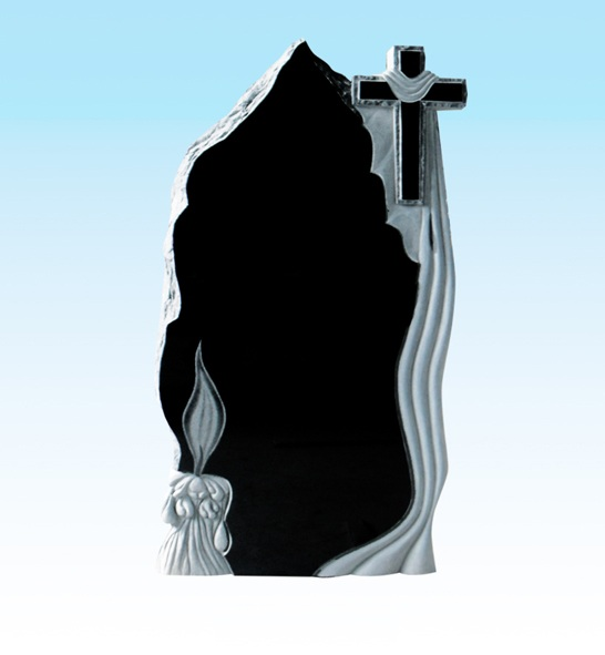Cross carving granite headstone
