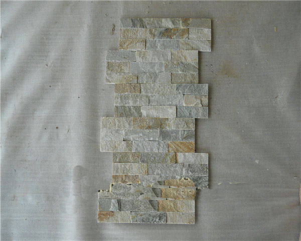 Beige slate veneer wall cladding tile