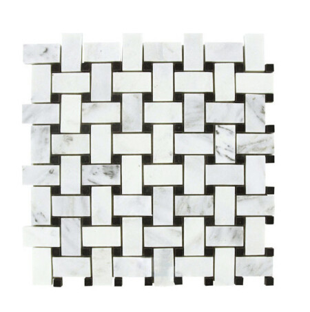 Carrara white basketweave with black dot mosaic tiles