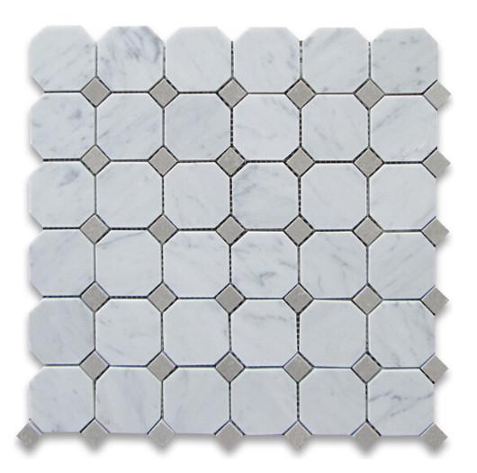 White Carrara octagon with grey dot