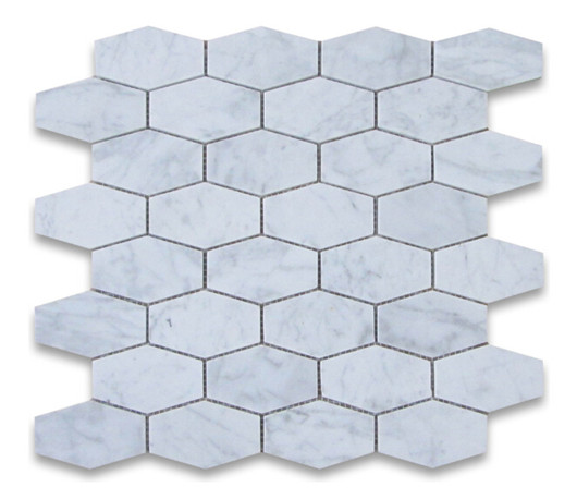 Carrara belongated hexagon mosaic tile