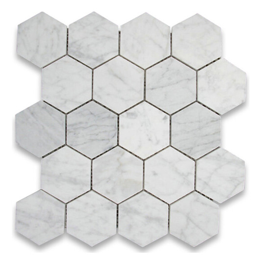 Carrara hexagon 3 inch mosaic tile