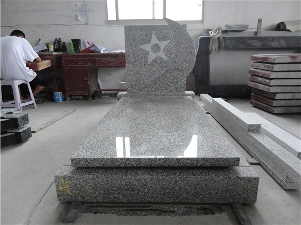 High polished grey granite headstone