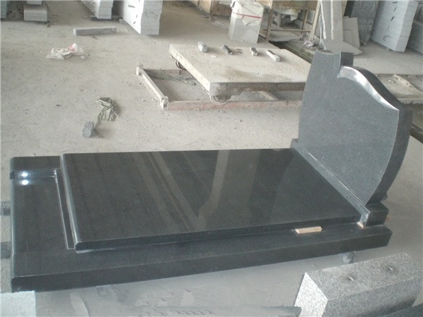 French style granite headstone with slab