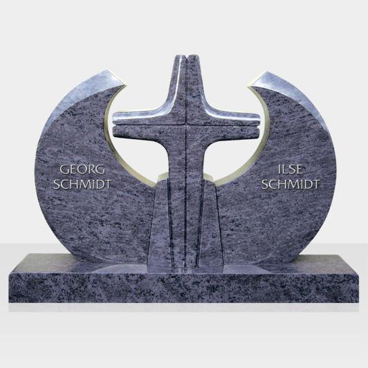Cross carving heanstone granite monument