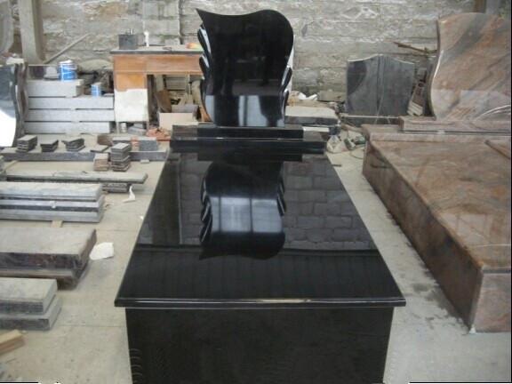 High polished granite black tombstone