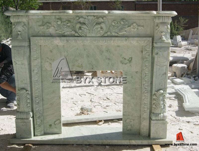 Green Marble Stone Fireplace with Flower Carving