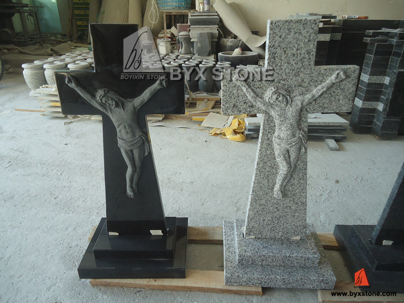 Granite Carved Jesus Cross Headstone Tombstone for Europe