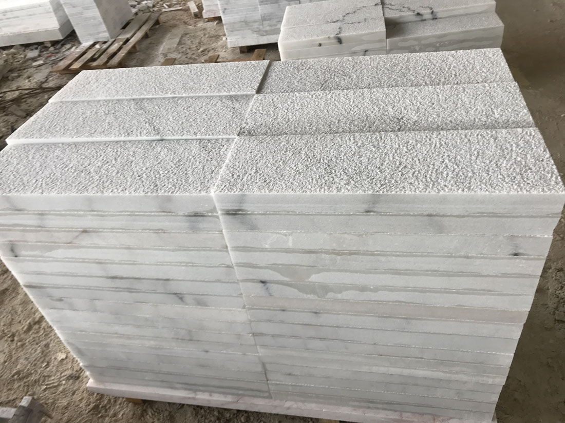 3cm Bush Hammered White Marble Floor Tiles