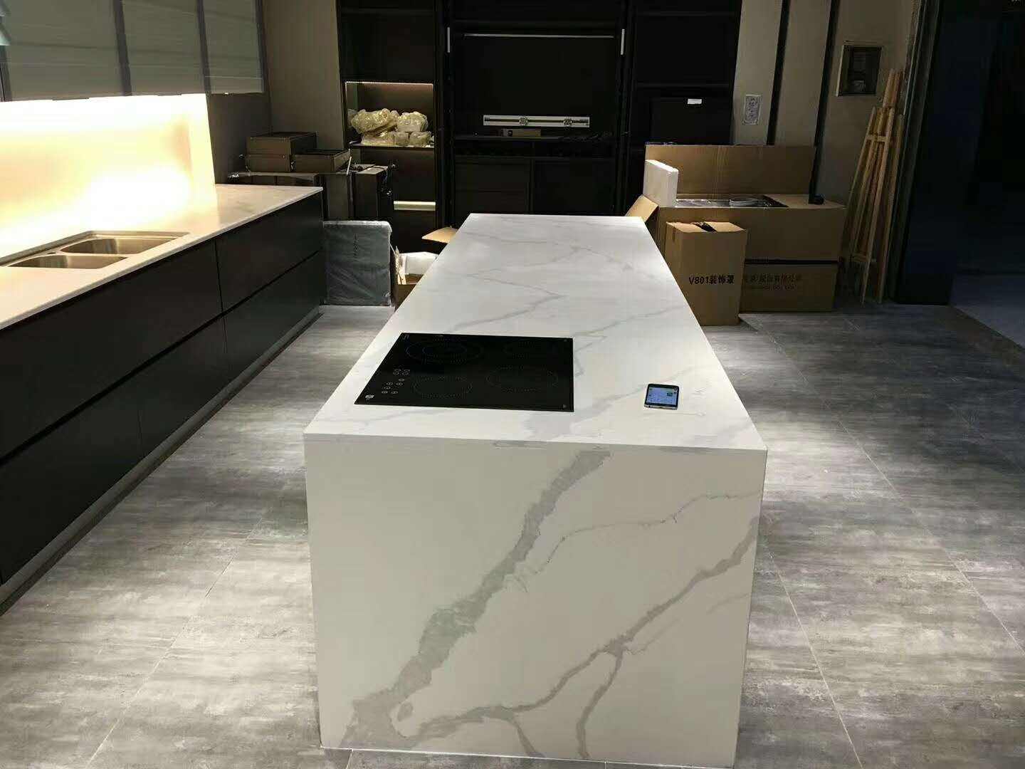 Calacatta Quartz Slab Kitchen Countertop