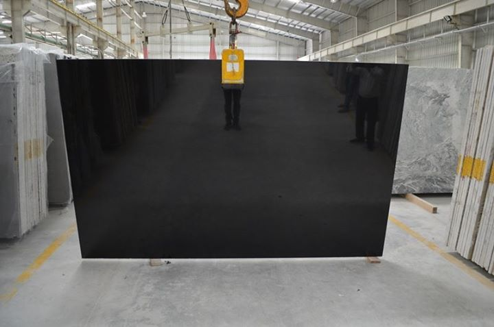 Absolute Black Polished Black Granite Slabs