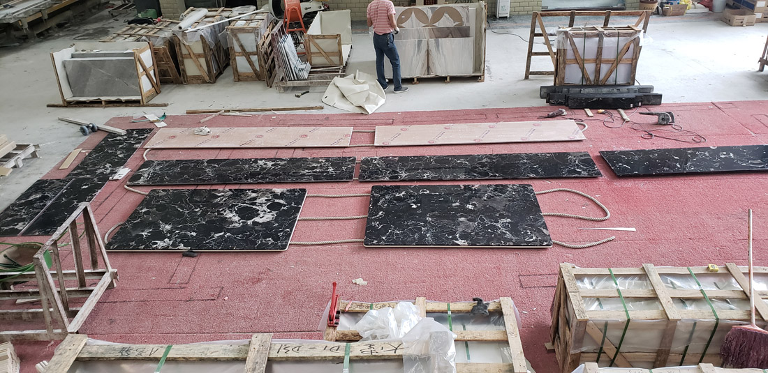 Absolute Black Rose Marble with White Flower Veins Kitchen Countertops